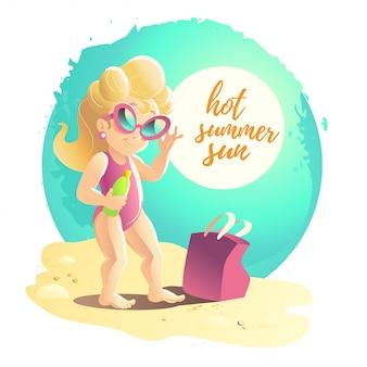Illustrazione di cartone animato estate piatta. costa del mare, sabbia, cielo. giovane ragazza sorridente carina in occhiali da sole in piedi sulla sabbia.