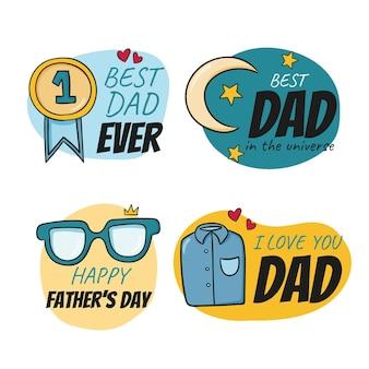 Collezione di badge per la festa del papà disegnata a mano estiva piatta