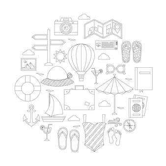 Set di oggetti di linea vacanze estive piatte. illustrazione vettoriale di oggetti da viaggio isolati su bianco