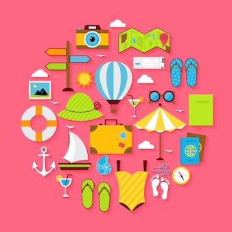 Insieme di oggetti di vacanza estiva piatta. vector piatto stilizzato vacanza, viaggio e illustrazione del mare