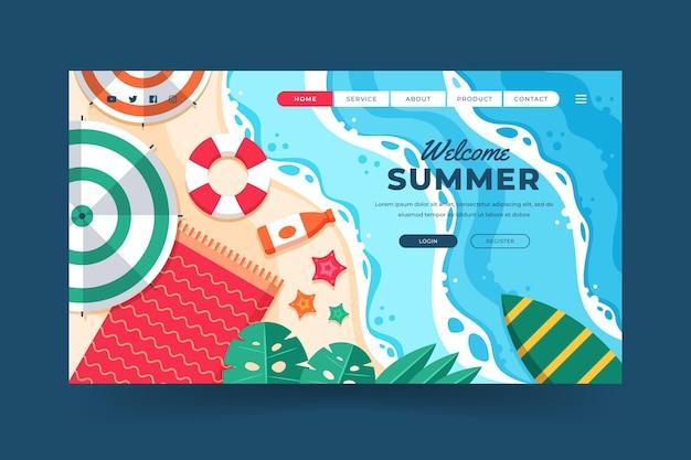 Modello di pagina di destinazione estiva piatta