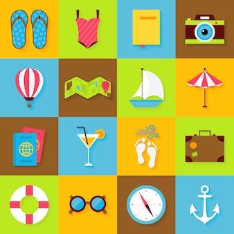 Set di oggetti estivi piatti. icone del mare delle vacanze e delle vacanze estive di vettore