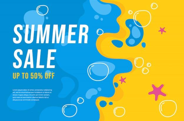 Fondo dell'insegna di vendita estate piatta