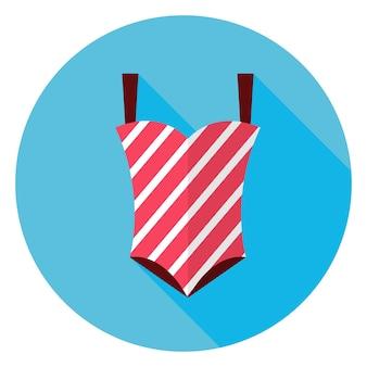 Icona del cerchio del costume da bagno estivo piatto con ombra lunga. illustrazione vettoriale di vestiti di moda piatto stilizzato