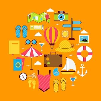 Insieme a forma di cerchio dell'icona di viaggio estivo piatto. illustrazione vettoriale di oggetti per le vacanze estive
