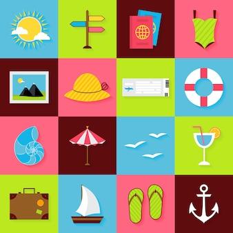 Insieme di oggetti di viaggio estivo piatto. icone del mare delle vacanze e delle vacanze estive di vettore