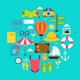 Insieme a forma di cerchio dell'icona di vacanza estiva piatta. illustrazione vettoriale di oggetti per le vacanze estive