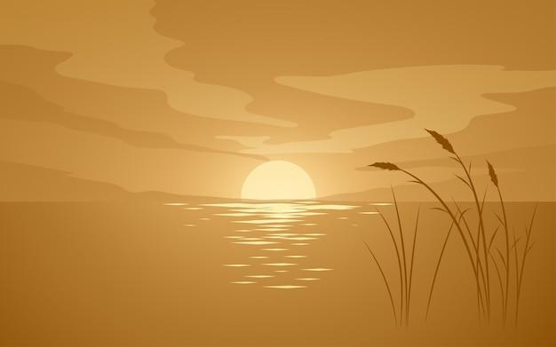 Illustrazione di tramonto piatto con silhouette di erba