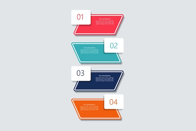Sommario piatto infografica vettore gratuito passo dopo passo