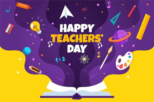 Sfondo del giorno degli insegnanti piatto