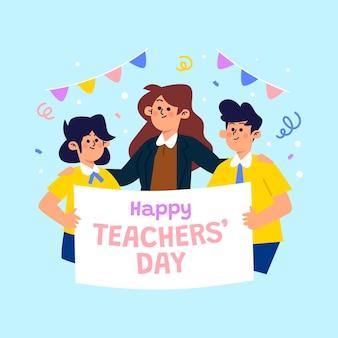 Illustrazione piatta del giorno degli insegnanti