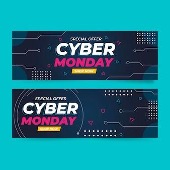 Set di banner orizzontali di cyber lunedì a tecnologia piatta