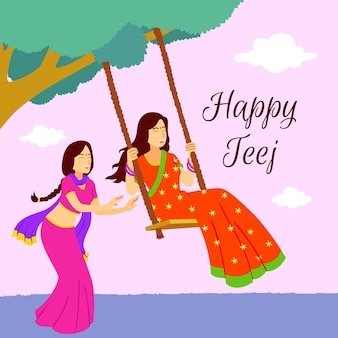 Illustrazione del festival teej piatto
