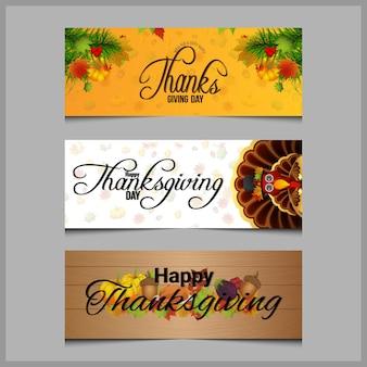 Set di banner piatto del ringraziamento