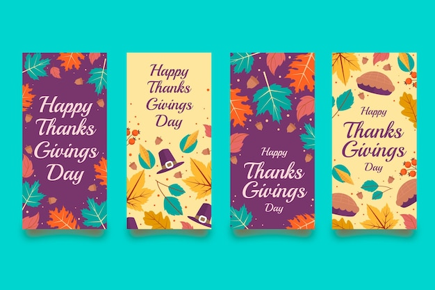 Raccolta di storie di instagram di ringraziamento piatto
