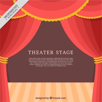 Palcoscenico del teatro piatto con tende rosse