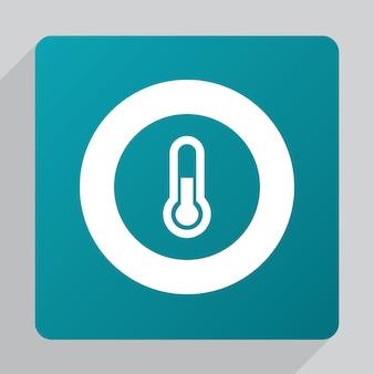 Icona termometro piatto, bianco su sfondo verde