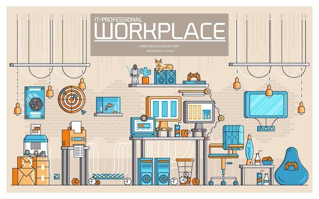 Tecnologia sul posto di lavoro per sviluppatori professionali da ufficio linea sottile piatta