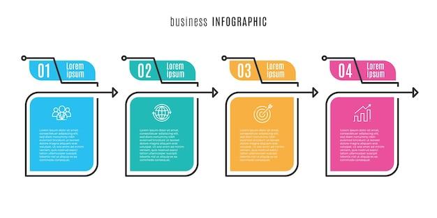 Modello di infografica timeline piatta 4 passaggi
