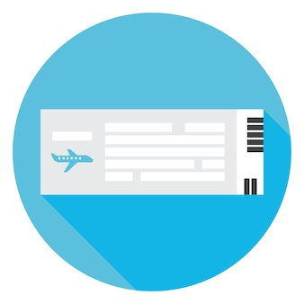 Icona del cerchio del biglietto aereo da viaggio piatto con ombra lunga. illustrazione vettoriale di documento piatto stilizzato