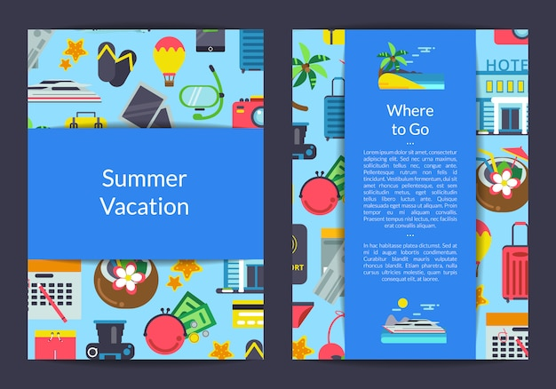 Carta di elementi di viaggio piatto, modello di volantino per agenzia di viaggi o illustrazione negozio di attrezzature