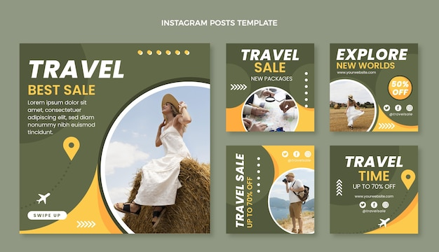 Modello di post instagram da viaggio piatto