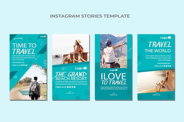 Pacchetto di storie instagram di viaggio piatto