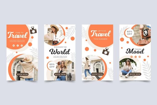 Set di storie di instagram di viaggio piatto