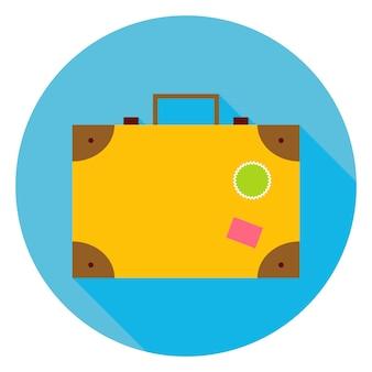Icona del cerchio di viaggio piatto valigia. illustrazione vettoriale di borsa turistica piatta stilizzata