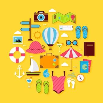 Insieme a forma di cerchio dell'icona di estate di viaggio piatto. illustrazione vettoriale di oggetti di vacanze estive con ombra morbida