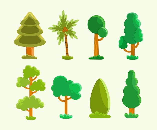 Collezione di alberi piatti