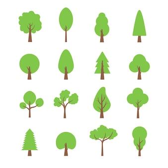 Set di alberi piatti. fogliame di eco isolato della pianta della natura dell'albero della foresta piatto.