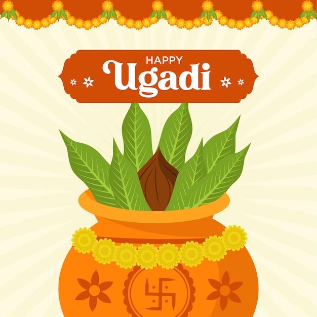 Design piatto banner ugadi