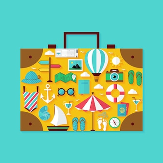 Insieme di oggetti di vacanza estiva vacanza piatta. illustrazione vettoriale di oggetti da viaggio a forma di valigia
