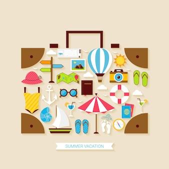 Insieme di oggetti di vacanza estiva di viaggio di vacanza piatta. illustrazione vettoriale di oggetti da viaggio a forma di valigia