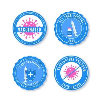 Set di badge campagna di vaccinazione piatta