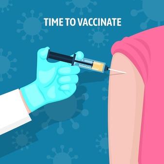 Illustrazione di campagna di vaccinazione piatta