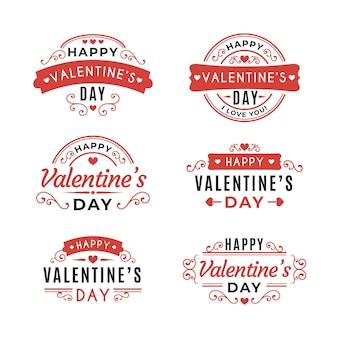Set di badge piatto di san valentino