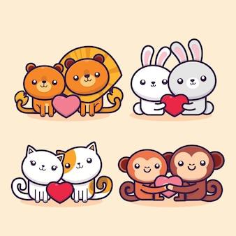 Collezione di san valentino piatto con illustrazione di animali carini