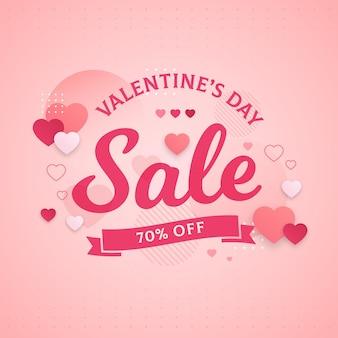 Promo di vendita di san valentino piatto