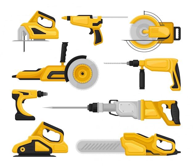 Set piatto vectoe di diversi utensili elettrici. seghe elettriche, levigatrici, trapani a percussione, pistola per colla. attrezzatura da costruzione
