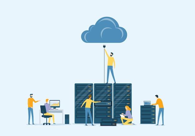 Tecnologia di data center aziendale vettoriale piatta con concetto di servizio di cloud computing