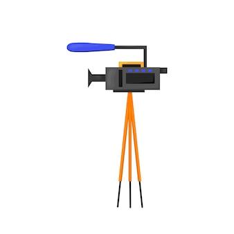 Icona di vettore piatto - illustrazione dell'icona della videocamera isolata su bianco