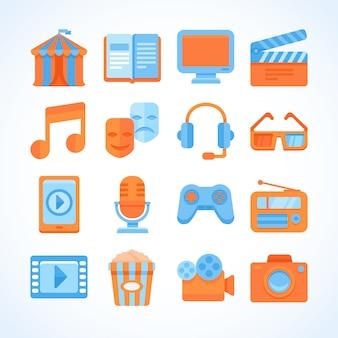 Set di icone vettoriali piatto di simboli di intrattenimento