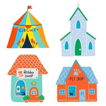 Illustrazione vettoriale piana di edifici. circo, chiesa, negozio di hobby, negozio di animali.