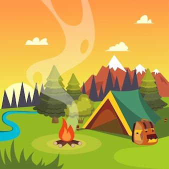 Illustrazione vettoriale piatto di un paesaggio da campeggio con una tenda, un falò e legno.