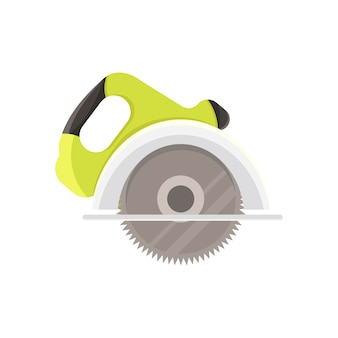 Illustrazione vettoriale piatta di sega circolare con disco dentato in acciaio strumenti di carpentiere di cartone animato