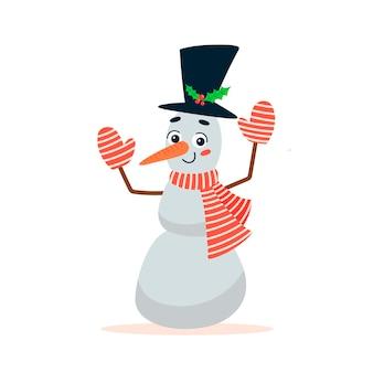 Piatto illustrazione vettoriale di simpatico cartone animato pupazzo di neve di natale isolato su sfondo bianco