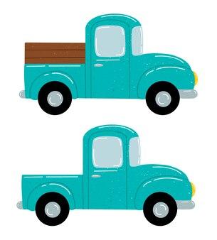 Piatto illustrazione vettoriale di un simpatico cartone animato green farm pickup set isolato su bianco