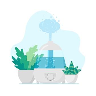 Illustrazione vettoriale piatta umidificatore elettrico e vasi di fiori icona idratante sana